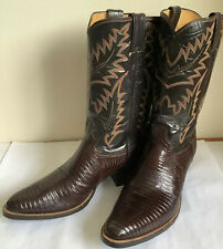 Vintage Justin Cowboy Boots Size 11.5 D Brown Lizzard 100th Aniversary Edition