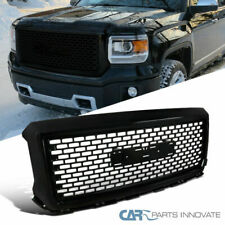 14-15 GMC Sierra Square Mesh Hole Style Glossy Black Upper Front Grill Grille