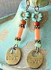 Hippie Coral and Turquoise Earrings. Czech Picasso Flowers. Peace. Love.