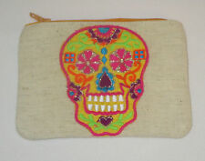 Sugar Skull Coin Purse Day of the Dead Yellow Zipper Embroidered Pink New