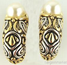 10mm Imitation Pearl Half Hoop Two Tone Clip On Earrings