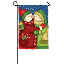 """Sweet Snow Friends Winter Snowman Hugging Yard Garden Flag 12.5"""" X 18"""""""