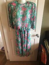 New listing Vtg Diane Fres Freis Original 2 Pc Dress Petites Pink Green Tie Waist Floral Os