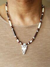 mens arrow head necklace, yak bone arrow,wood beads,7 sizes,tribal,African.