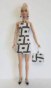 Poppy Parker Doll Clothes - B&W DRESS PURSE JEWELRY Handmade Fashion NO DOLL d4e