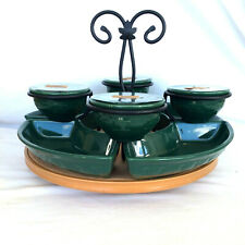 Longaberger 19 pc Ivy Crescent Dish Wrought Iron Bowls Candles Wood Lazy Susan