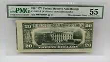 1977 $20 Federal Reserve Note Boston PMG 55 Misalignment Error - 2072-A