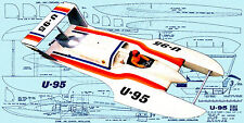 "Build a 45"" Radio Control 1/8 Scale hydroplane Full Size Printed plan & article"