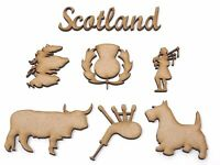 Scottish themed craft shapes, bagpipes, thistle, Sottish bagpiper, Scotland map