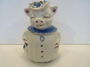 SHAWNEE WINNIE PIG BLUE COLLAR COOKIE JAR