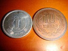 JAPAN 1985 (Showa Year 60) 1-Yen & 10-Yen (¥1 ¥10) 2 pieces, UNC