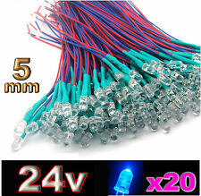 455/20# LED 5mm 24v pré-câblé bleu 20pcs prewired blue LED