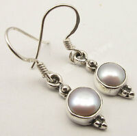 "925 Solid Silver Wonderful AAA CULTURE PEARL FASHIONABLE Earrings 1.2"" BIJOUX"