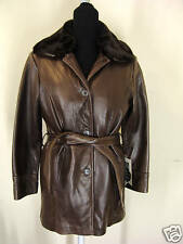 TIBOR size S  fur collar brown button 31'' leather coat