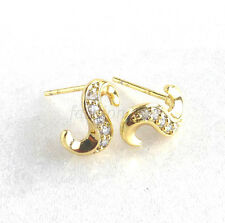 Men Girl New 14K Yellow Gold Plated CZ Cubic Zirconia Small S Studs Earrings