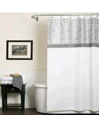 "Lush Decor Serengeti Shower Curtain White/Gray 72"" x 72"" 100% Polyester  NEW"