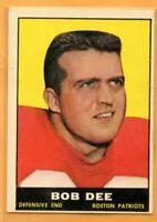 1961 Topps Football #181 Bob Dee Boston Patriots (Poor) Lot 701 --Denver Broncos