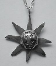 Chain Necklace #2377 Pewter SUN stars MOON (28mm x 25mm)  Celestial