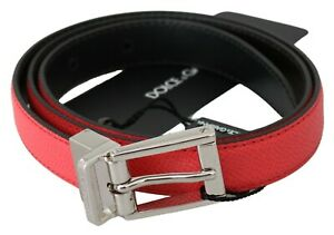 DOLCE & GABBANA Belt Pink Leather Silver Logo Buckle s. 75cm / 30in RRP $350