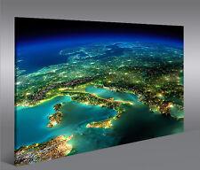 Bild auf Leinwand Europa vom Weltall V2 1p XXL Poster Leinwandbild Wandbild