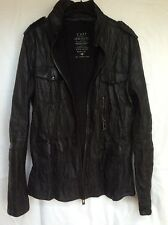 River Island Black Textured Fitted 100% Leather Jacket size M