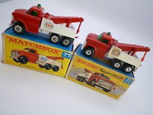 VINTAGE MATCHBOX LESNEY & SF No.71c FORD HEAVY WRECKER x2 IN ORIGINAL BOXES 1970