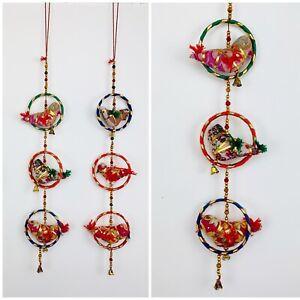Bird Bell Cotton String Decoration – Boho Xmas Mobiles Festival Nomads Wales
