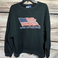 BUM Equipment USA Land of the Free Size Large Black Sweatshirt Flag