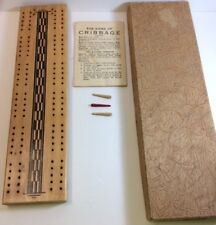 VINTAGE CRIBBAGE BOARD WITH RULES IN ORIGINAL BOX
