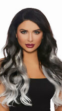Dreamgirl Long Wavy Grey Ombre Hair Extensions Halloween Costume Accessory 11402