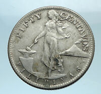 1945 S PHILIPPINES - FIFTY Centavos United States of America Silver Coin i78166