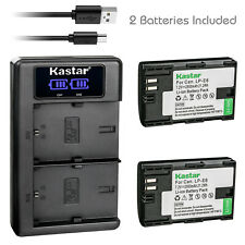 Kastar 2 LP-E6 Battery + Charger for Canon EOS R 5D Mark II III IV 80D 70D 6D 7D