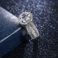 Luxury Shine Women 925 Silver Ring White Sapphire Wedding Ring Jewelry Size 6-10