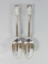 Antique Victorian 1845 Pair Sterling Silver Kings Pattern Tablespoon Large Spoon