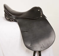 "USED 16"" DARK BROWN DRESSAGE ALL PURPOSE ENGLISH SCHOOLING LEATHER HORSE SADDLE"