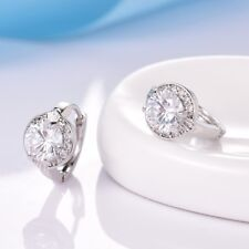 Antique Style 18k White Gold Filled White Topaz Crystal Hoop Huggie Earrings