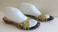 Casadei Sandals Slides Low Heels Leather Canvas Multi 8.5 B Italy Never Worn