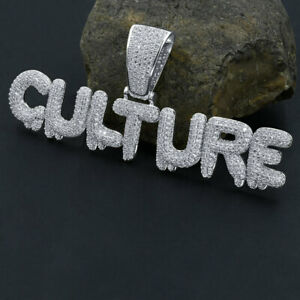"""New Icy Unisex White Gold Over Sterling Silver """"CULTURE"""" Diamond Simulate Charm"""