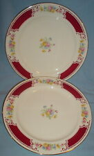 "2 BRITTANY MAJESTIC DINNER PLATES 10"" RED BURGUNDY BAND HOMER LAUGHLIN"