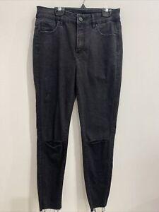 Decjuba Womens designer mid rise distressed ripped black skinny jeans 12 EUC