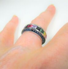 FANCY GEMSTONES ETERNITY RING #6.5 WHITE GOLD over 925 STERLING SILVER