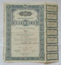 OBLIGACJA 6 % Pożyczki Narodowej na 50 zł 1934