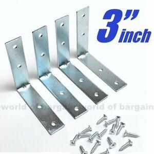 DOITOOL 16 Pcs Stainless Steel Corner Brace Heavy Duty Right Angle Bracket L Shaped Bracket 90 Degree Angle Joint Fastener for Wood Mounting Shelf Support
