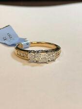 IGI Certified 1.0 carat princess cut and round diamond ring 14K appraisal $2,165