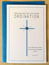 Ordination/New Minister/Priesthood Blue Cross Christian Card