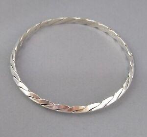 Vintage Tiffany Sterling Silver Knife Edge Braided Twisted Bangle Bracelet