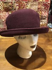 Vintage Burgundy Wool Felt Bucket Cloche Wide Brim Antique Hat