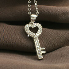 White Gold Filled Cubic Zirconia Heart Key Pendant Necklace Chain