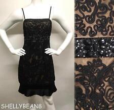 SUE WONG 1920s BEADED Flapper GATSBY Nude Black Illusion JEWEL Waist Dress 4 S