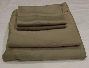 *READ Ralph Lauren Cal King Sheet Set Green Cotton Sateen Fitted Flat Pillowcase